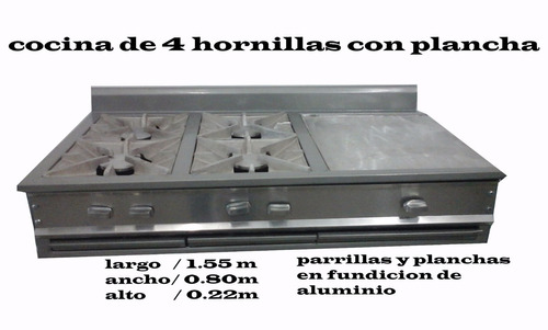 cocina industrial 4 hornillas y plancha