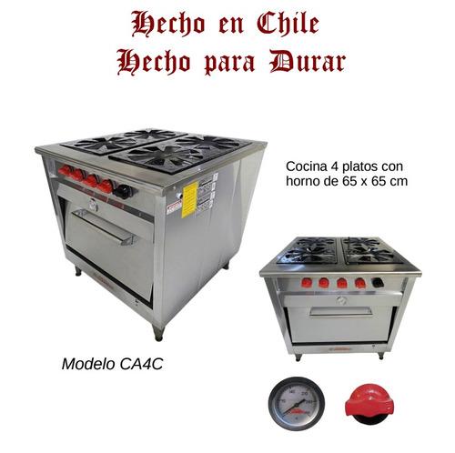 cocina industrial 4 platos certificada 1 año de garantia