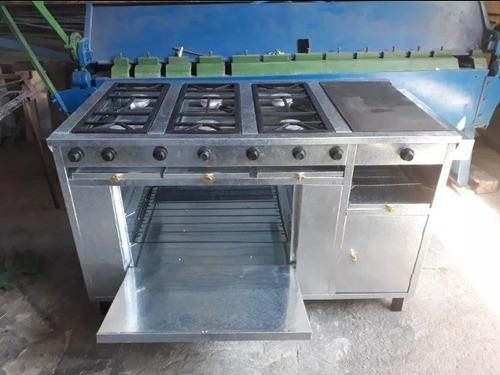 cocina industrial 6 hornillas con plancha horno y gratinador