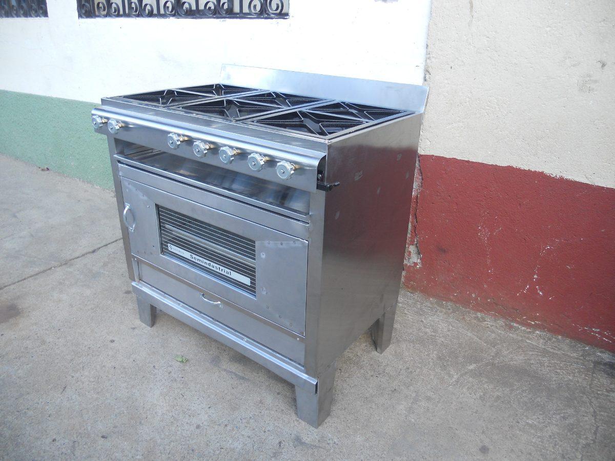 Cocina industrial 6 quemadores con horno de 2 latas for Cocina 6 quemadores
