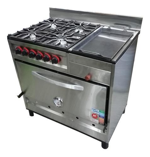 cocina industrial 90 cm 4 hornallas + plancha horno pizzero