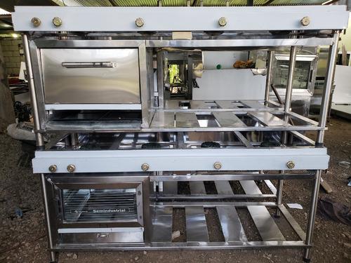cocina industrial con horno para restaurant acero inoxidable