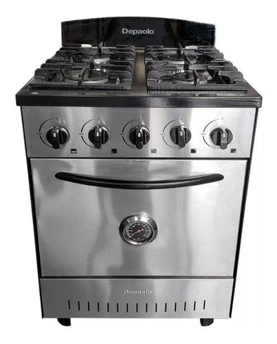 cocina industrial depaolo 4 hornallas acero 57 cm c / horno