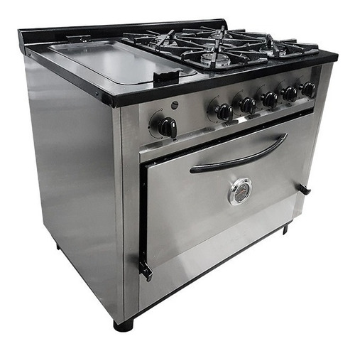 cocina industrial depaolo 4 hornallas + plancha bifera 90 cm