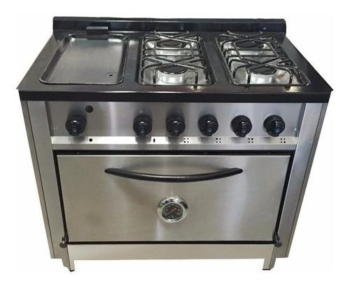 cocina industrial depaolo 4 hornallas + plancha hierro 90 cm
