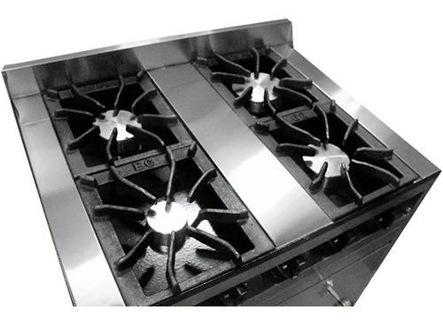 cocina industrial eg 4h 80 cm acero inox horno pizzero cuota