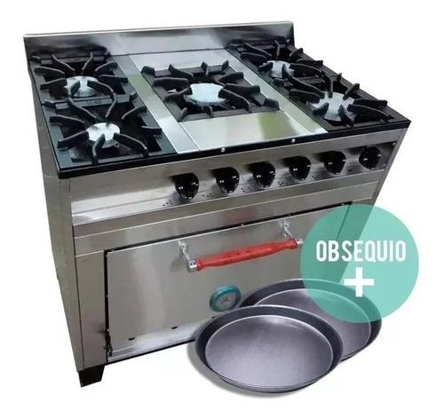 cocina industrial eg 5h 94 cm acero inox pizzero fundicion
