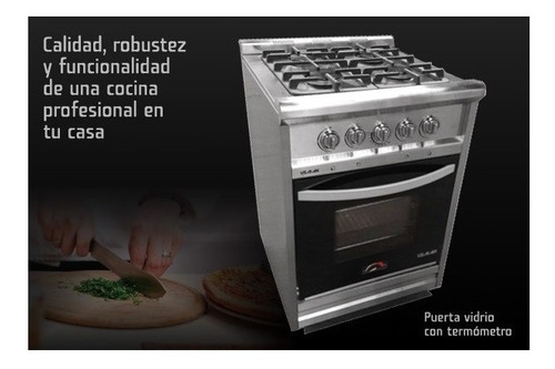 cocina industrial everest acero inoxidabl 60cm puerta vidrio