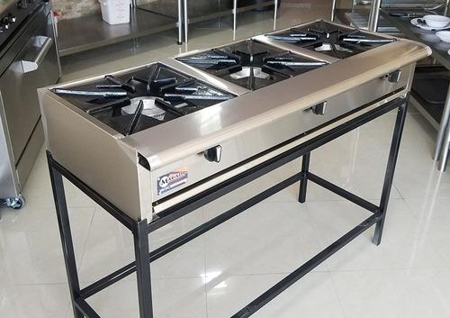 cocina industrial gas 3 quemadores lineales