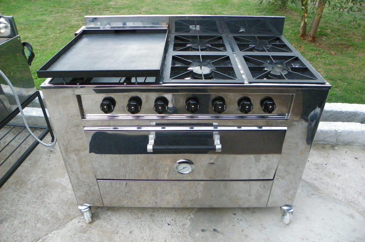 Cocina industrial gas 4 hornallas plancha y horno 48 - Plancha para cocina de gas ...