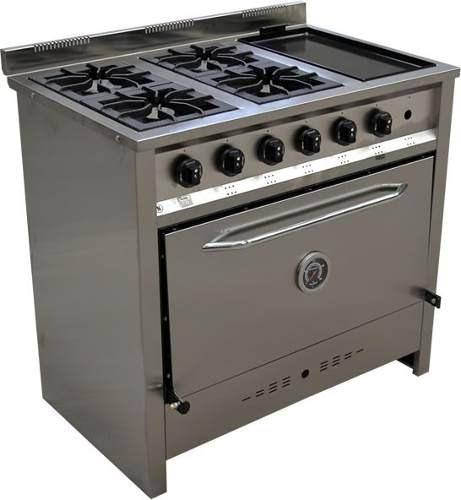 cocina industrial gastroequip 4 hornallas 90 cm con bifera