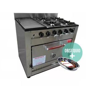 Cocina Industrial Pevi 4 Hornallas + Plancha 90 Cm H Pizzero