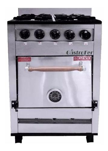 cocina industrial pevi 4 hornallas 55 cm ac. inox h pizzero