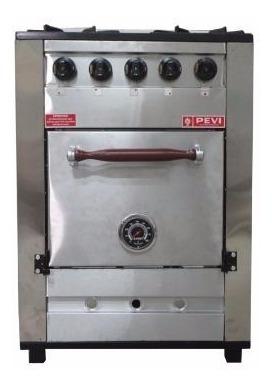 cocina industrial pevi 4 hornallas 60 cm ac. inox h pizzero