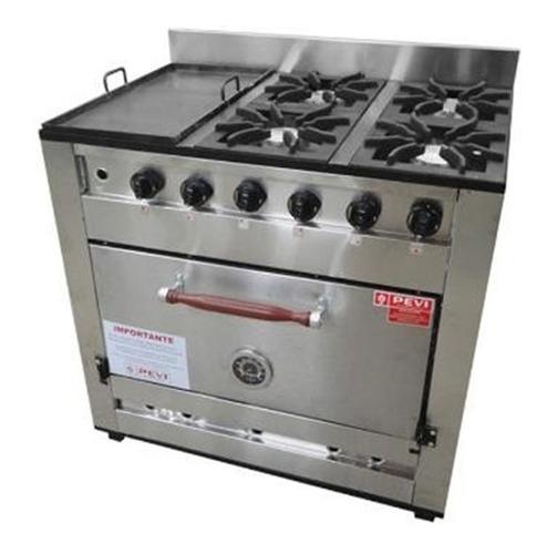 cocina industrial pevi 4 hornallas + plancha 90 cm cuotas