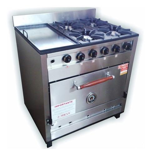 cocina industrial pevi 4 hornallas y plancha acero inox 85cm