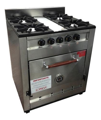 cocina industrial pevi 4h 75 cm acero inox horno pizzero