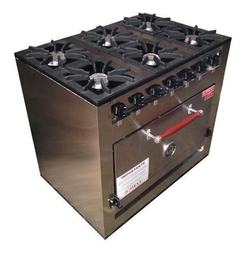 cocina industrial pevi 6 hornallas 90 cm horno pizzero