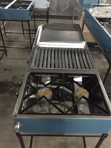 cocina industrial plancha parrilla y dos quemadores a gas
