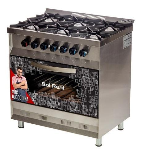 cocina industrial sol real 6 hornallas 82 cm horno pizzero