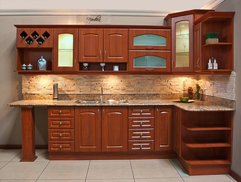 Cocina integral madera escuadra dise o residencial a for Frentes de muebles de cocina