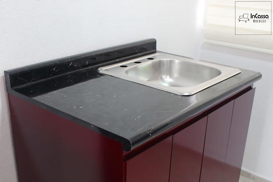 Cocina Integral Minimalista Bordó Mod Salamanca Para Estufa 2.10m