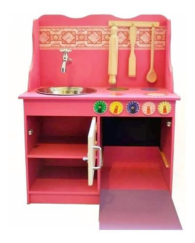 cocina juguete madera con accesorios super completa hts hts