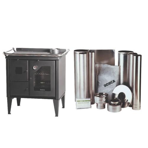 cocina leña bosca optima 300 salamandra estufa 2 plat. + kit