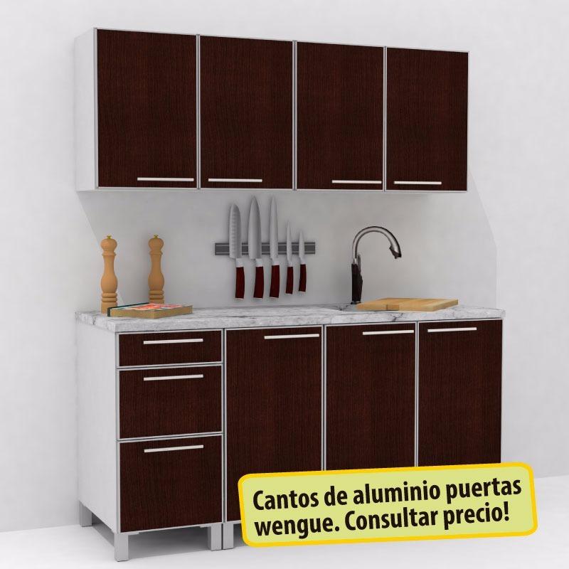 Mueble De Cocina 1,60 Mts Manijas J Aluminio Melamina - $ 10.380,00 ...