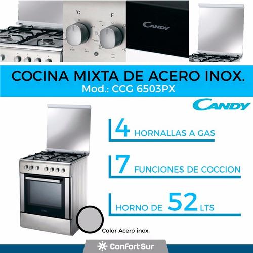 cocina mixta eléctrica/gas candy grill 52lts ccg6503px **4