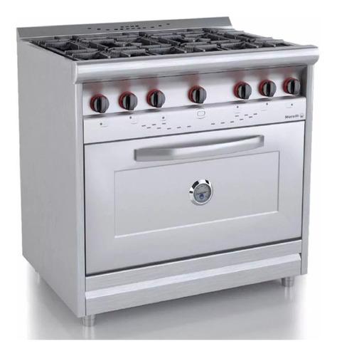cocina morelli country 900 6 h acero inox horno pizzero