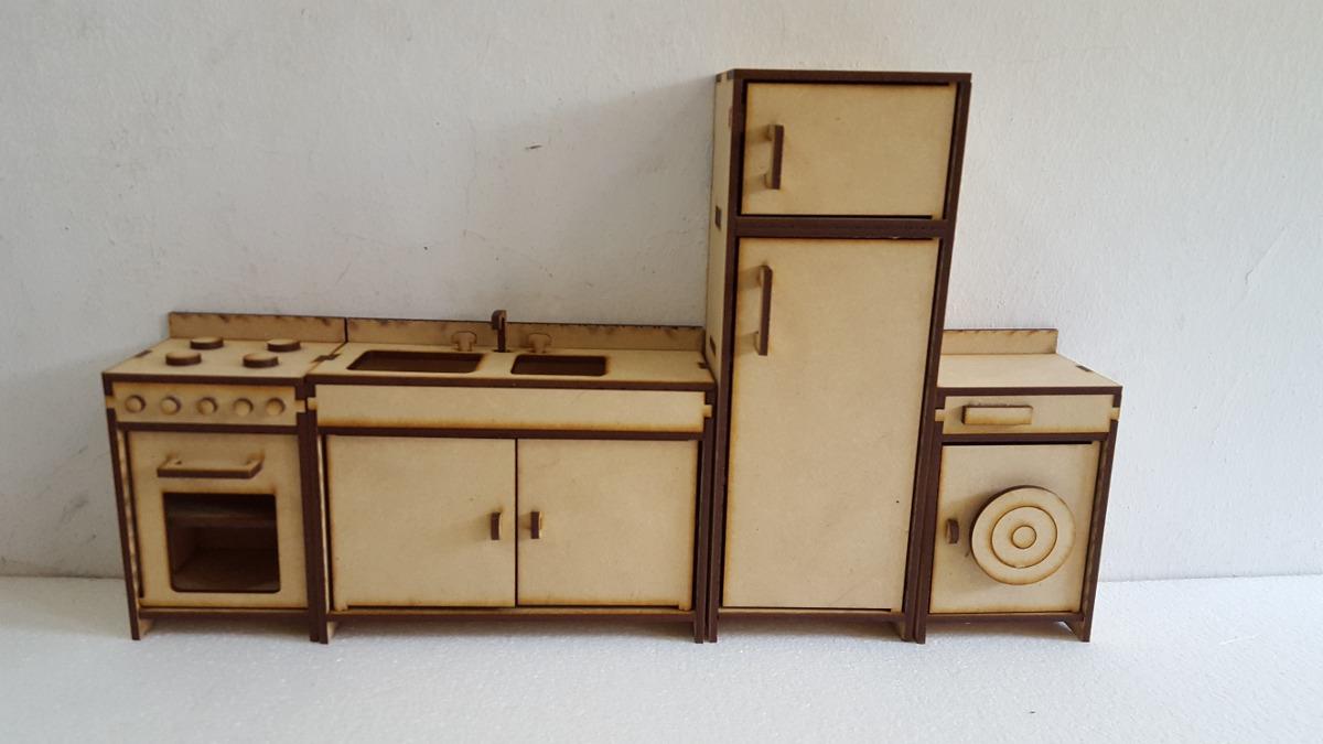 Cocina Muebles Casita Mu Ecas Barbie Fibrofacil Corte Laser  # Muebles Fibrofacil Para Casa Munecas