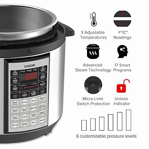 cocina múltiple programable cosori 6 qt premium 8 en 1 (olla