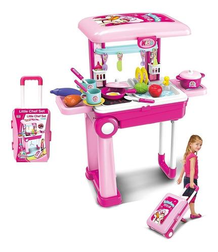 cocina niña maleta portatil juguete lucs y sonido