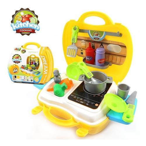 cocina pequeña de juguete portatil valija