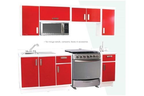 cocina rimini - rojo y blanco këssa muebles.