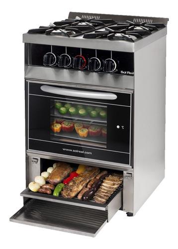 cocina sol real 516 negra gas natural puerta visor c/p- aj h