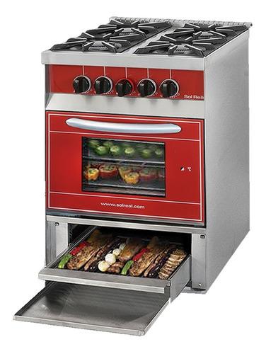 cocina sol real 516 roja gas envasado con parrilla- aj hogar