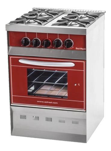 cocina sol real 516 roja gas envasado puerta visor s/p- aj