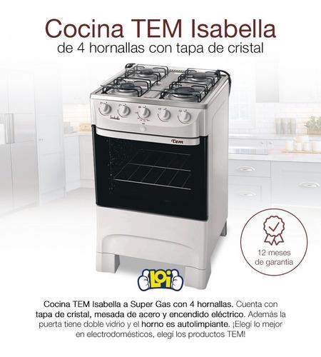 cocina tem isabella 4h super gas encendido eléctrico en loi