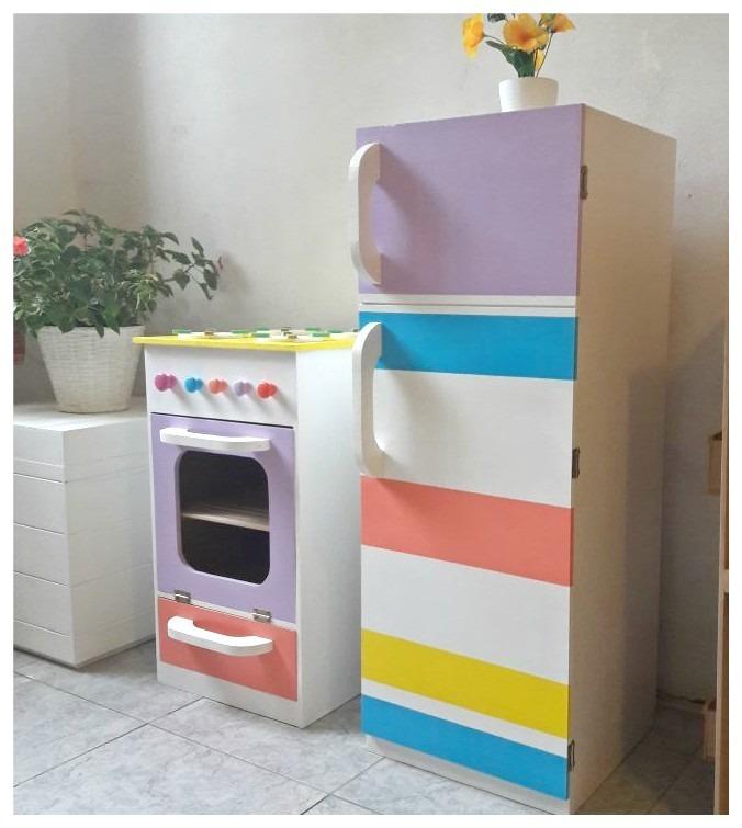 Cocina Y Heladera Para Niños En Madera - Pintada Y Laqueada ...