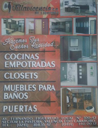 cocinas empotradas, closets, muebles de baños, puertas.