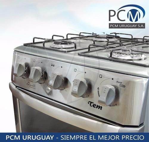 cocinas tem avanti 4 inox parrilla extra quemador doble pcm