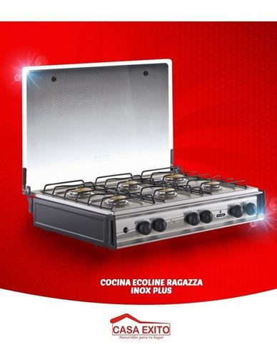 cocineta ecoline 6 quemadores ragazza inox plus con tapa