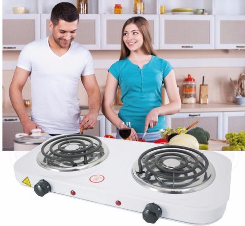 cocineta electrica portatil de 2 hornillas acero inoxidable