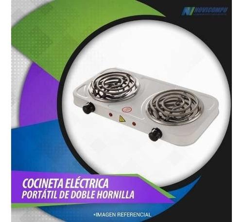cocineta eléctrica portátil de doble hornilla, potente y prá