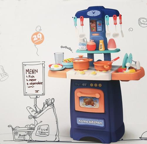 cocinita infantil+sonido+luz+canilla sale agua +29 accesorio