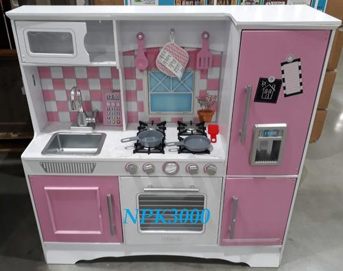 cocinita para niña de madera kidkraft cocina de juguete rosa