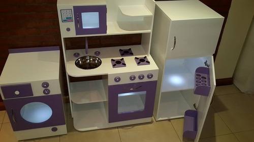 cocinita y heladera de madera - cocina infantil de juguete