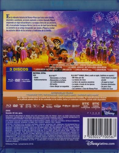 coco disney pixar pelicula blu-ray + dvd + bonus